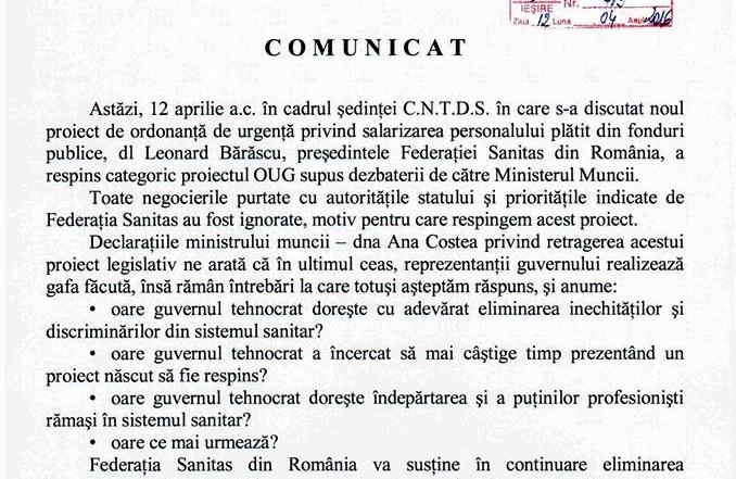 Comunicat Sanitas 12.04.2016